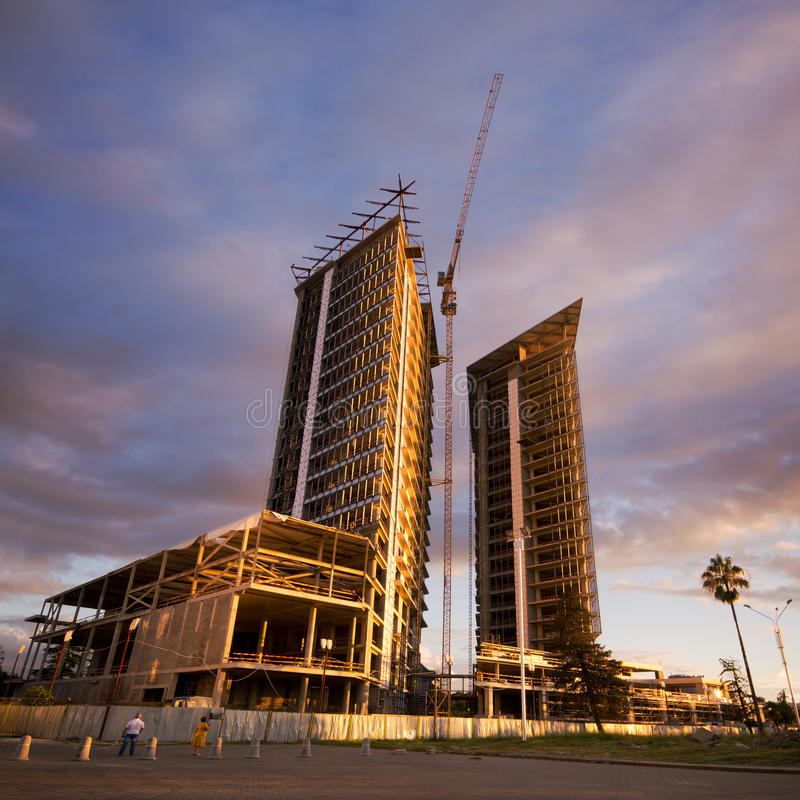 Building under construction. In a new residential area of batumi stock images