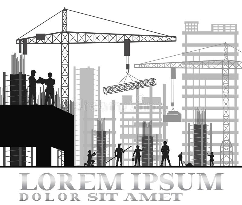 Building under construction site royalty free illustration