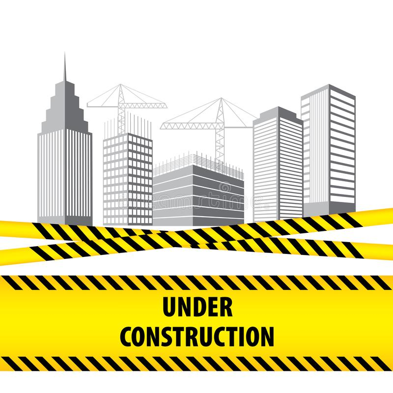 Building under Construction site. Construction infographics. Vector illustration template design with black and yellow striped bor vector illustration