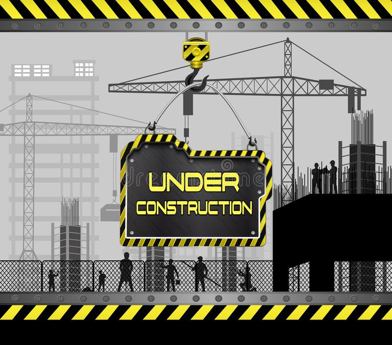 Building under construction site with sign board royalty free illustration