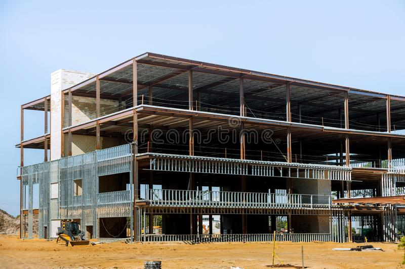 Building under construction with steel beam stock photography