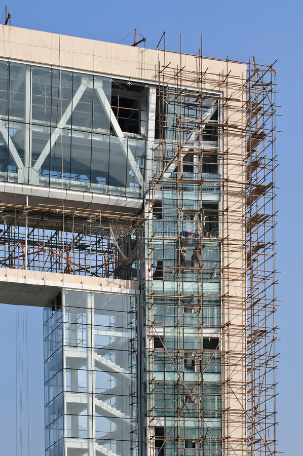 Building under construction, Weihai, China. Office building under construction, Weihai, China stock images