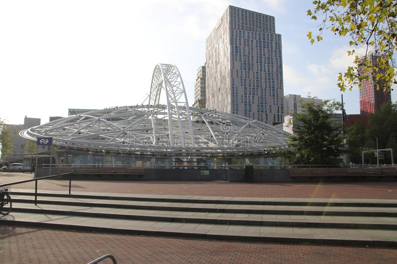 Building of the underground train and metro station Blaak at the Binnenrotte in Rotterdam, the Netherlands stock photos