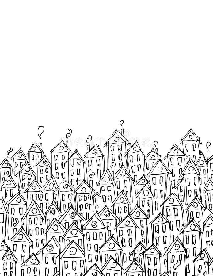 Building vector art for card, decotation. Black and white lineart, sketch style. royalty free illustration