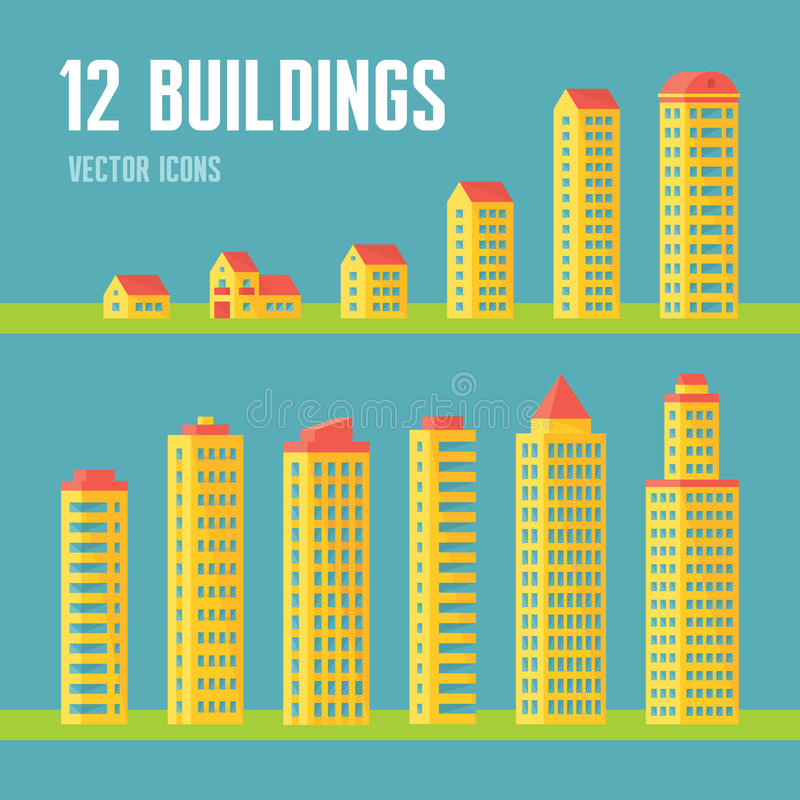 12 building vector icons in flat design style for presentation, booklet, website etc. Architecture vector signs collection. royalty free illustration