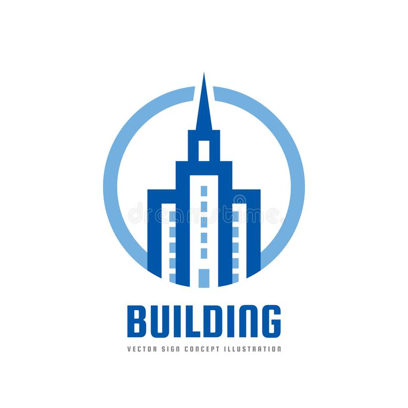 Building - vector logo template concept illustration. Real estate abstract symbol. Construction creative sign. Tower icon. royalty free illustration