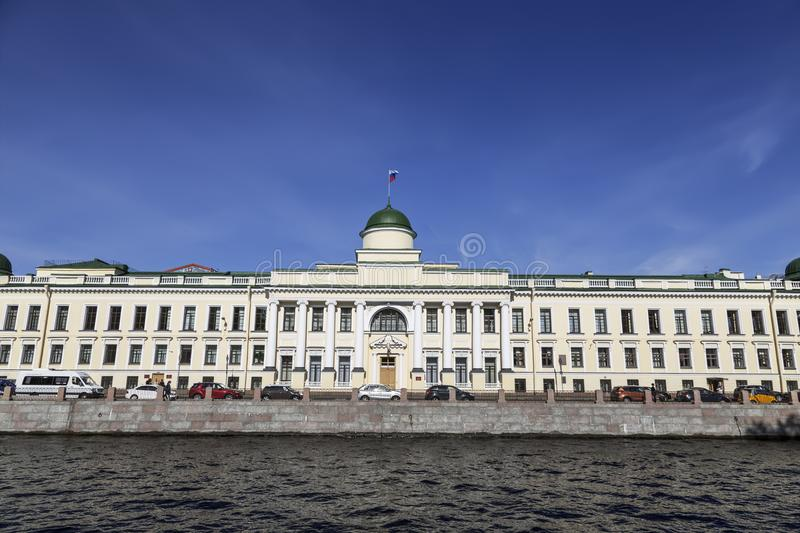 The building was built in 1830, an architectural monument, the former Imperial school of law, now the Leningrad regional court. Sa royalty free stock photo