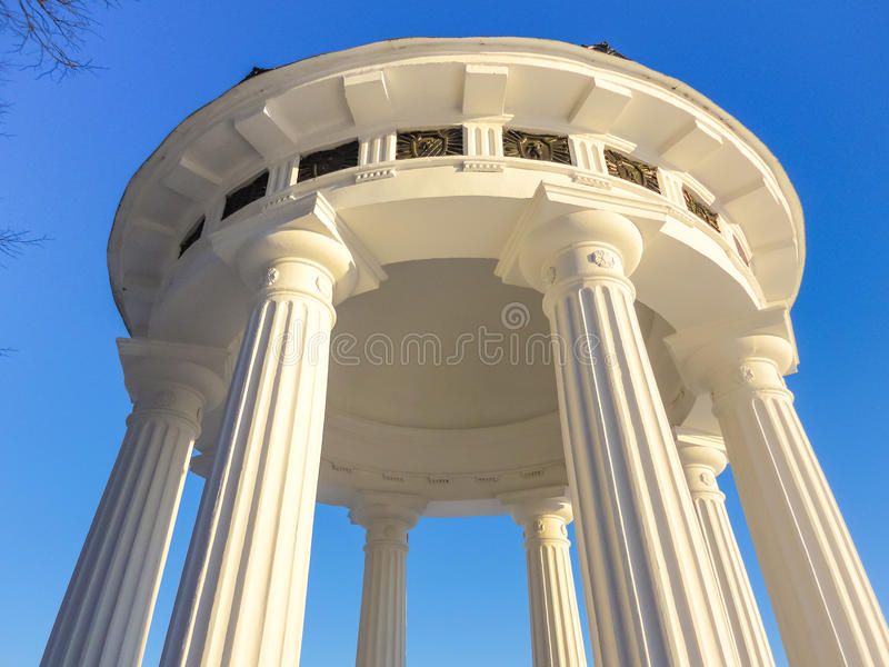 Building white columns in the classical style royalty free stock image