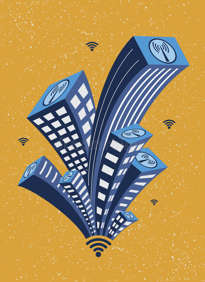 Building and Wifi. Buildings in the city with internet wifi network connection stock illustration