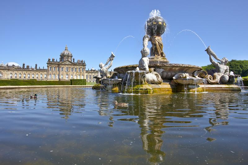 Atlas Fountain at Castle Howard, North Yorkshire, UK. Although building work began in 1699, the construction of Castle Howard took over 100 years to complete royalty free stock photography