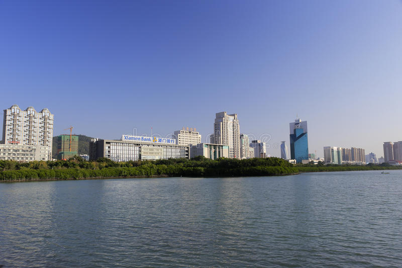 Building of xiamen bank. By the lake, amoy city, china stock image