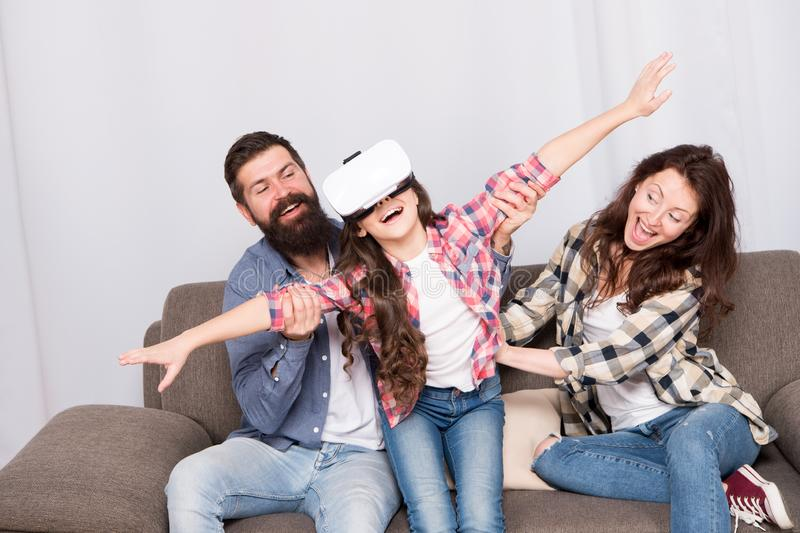 Building Your Childs Future. I appreciate your support. Little girl use vr glasses. mother and father support. Trust and. Support. Family. Happy family. bearded stock images