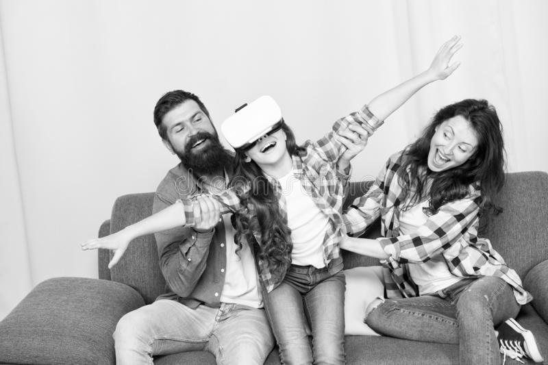 Building Your Childs Future. I appreciate your support. Little girl use vr glasses. mother and father support. Trust and. Support. Family. Happy family. bearded stock photo