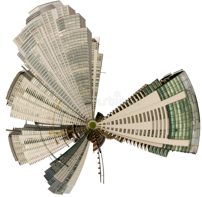Buildings. High modern buildings with digital effect placed in a circle stock images