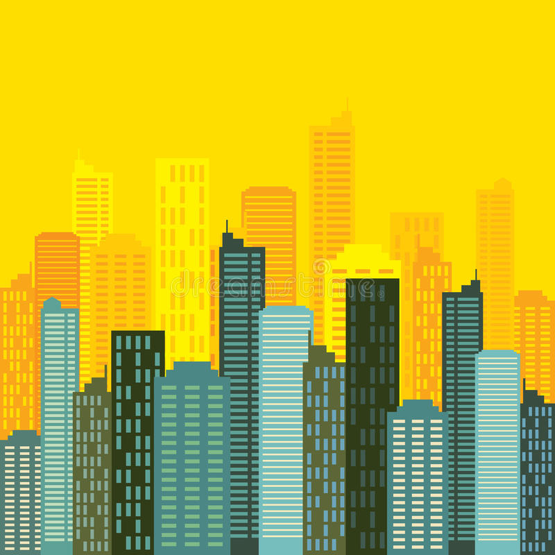 Buildings. City skyline building with yellow background stock illustration