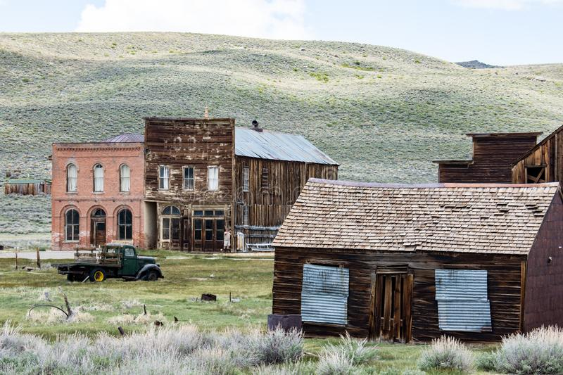Buildings in the abandoned ghost town of Bodie California. Bodie was a busy, high elevation gold mining town in the Sierra Nevada. Buildings in the abandoned royalty free stock image