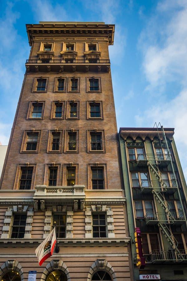 Buildings along Bush Street in San Francisco, California. royalty free stock photos