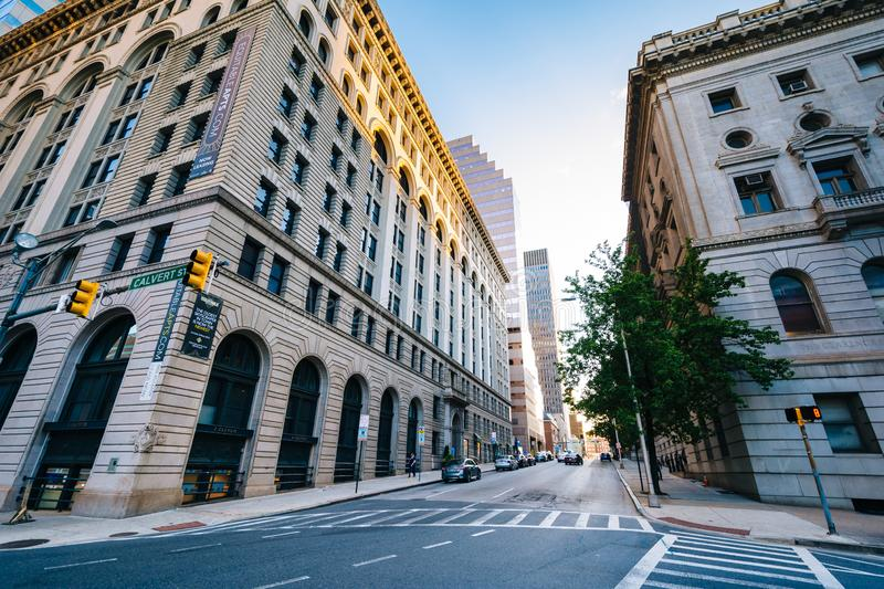 Buildings along Fayette Street, in downtown Baltimore, Maryland.  royalty free stock images