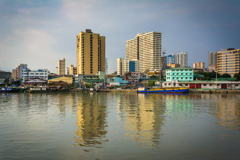 Buildings along the Pasig River, seen from Fort Santiago, in Int stock image