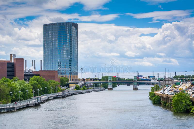 Buildings along the Schuylkill River, in Philadelphia, Pennsylvania.  royalty free stock image