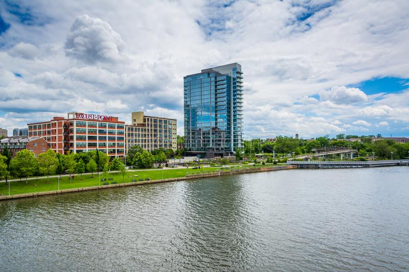 Buildings along the Schuylkill River, in Philadelphia, Pennsylvania.  royalty free stock photography