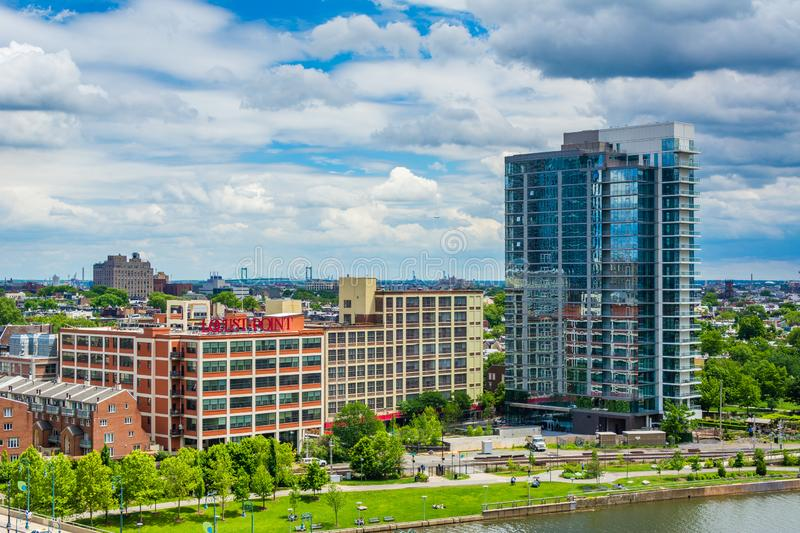 Buildings along the Schuylkill River, in Philadelphia, Pennsylvania.  royalty free stock images