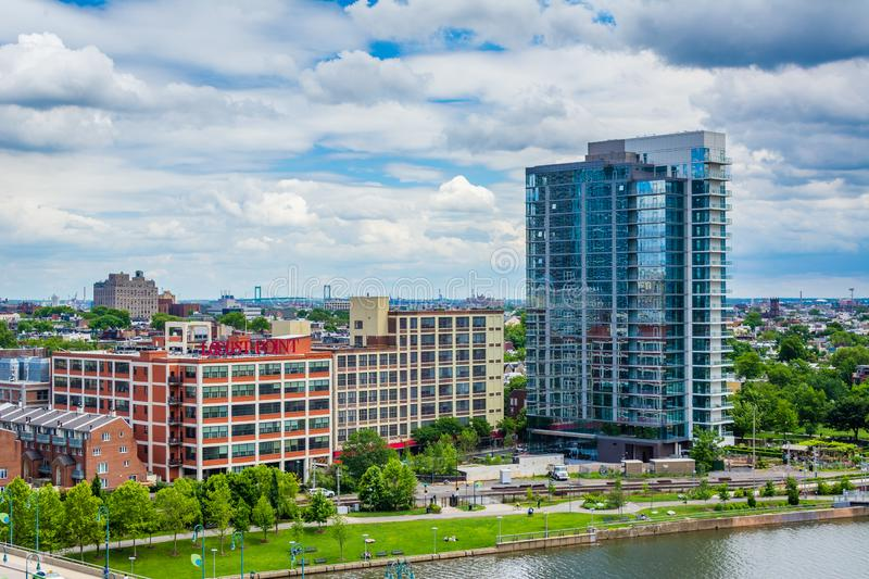 Buildings along the Schuylkill River, in Philadelphia, Pennsylvania.  stock photography