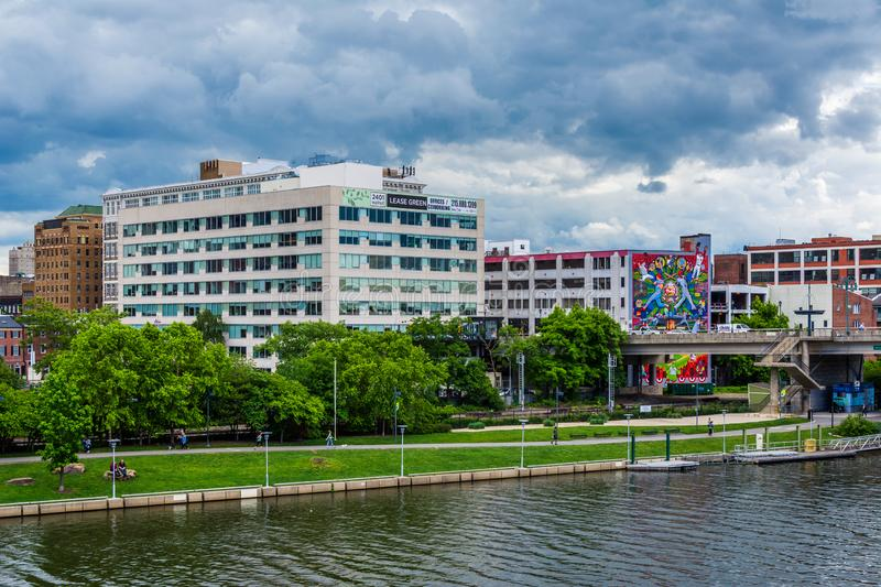 Buildings along the Schuylkill River in Philadelphia, Pennsylvania.  royalty free stock photography