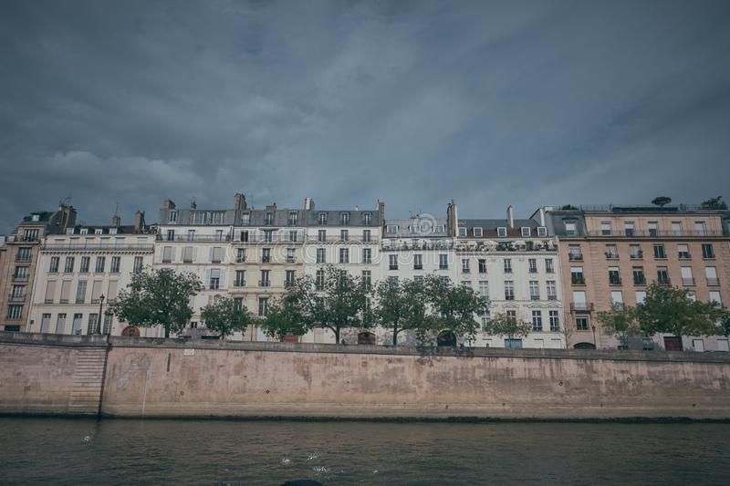 Buildings along the Seine River in Paris, France.  royalty free stock photography