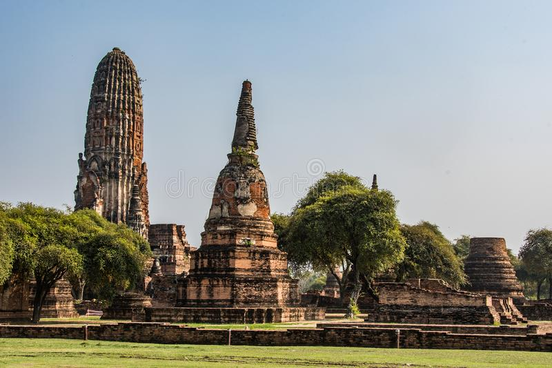 Buildings in the ancient ruins of the city of Ayutthaya Thailand royalty free stock photos