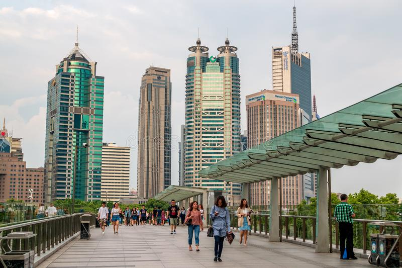 Buildings and architecture with urban skyscrapers in Pudong stock image