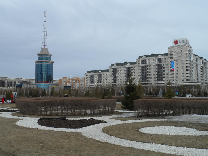 Buildings in Astana. Astana, view on the street with different buildings including business centers, residential buildings royalty free stock photo