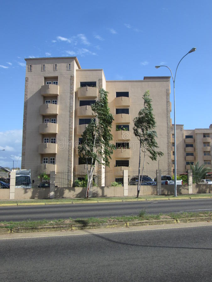 Buildings in Atlantic Avenue of Puerto Ordaz, Venezuela. View of sand colored buildings in this city of the South American country, architecture and royalty free stock images