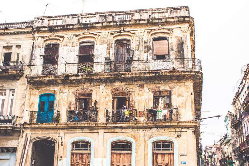 The buildings are in bad state here in Havana royalty free stock image