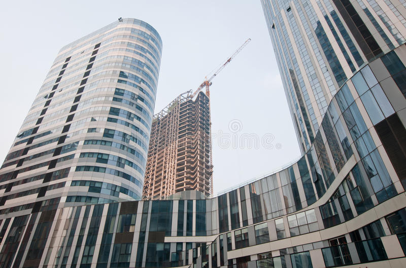 Buildings in Beijing. Modern architecture office buildings in Beijing, China royalty free stock photos