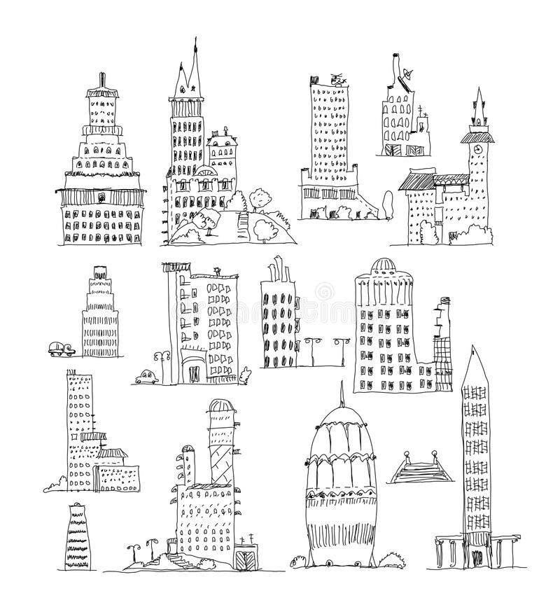 Buildings of big city, set. Sketch collection stock illustration