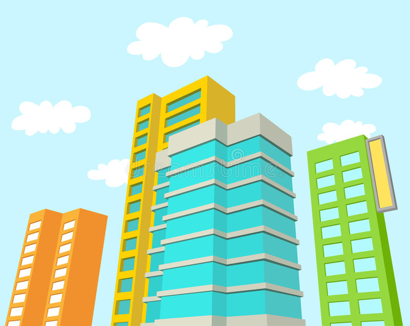 Download Buildings With Blue Sky And Clouds Stock Vector - Image: 36418093