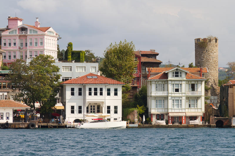 Buildings In Bosphorus Strait Royalty Free Stock Photography