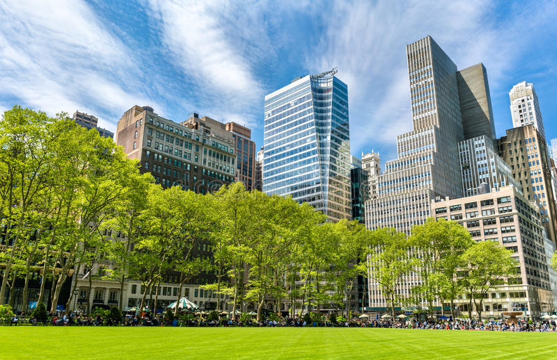 Buildings at Bryant Park in New York City. USA royalty free stock photo