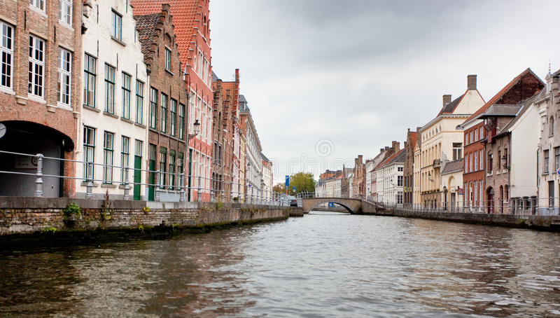 Buildings on canal in Bruges, Belgium stock photos