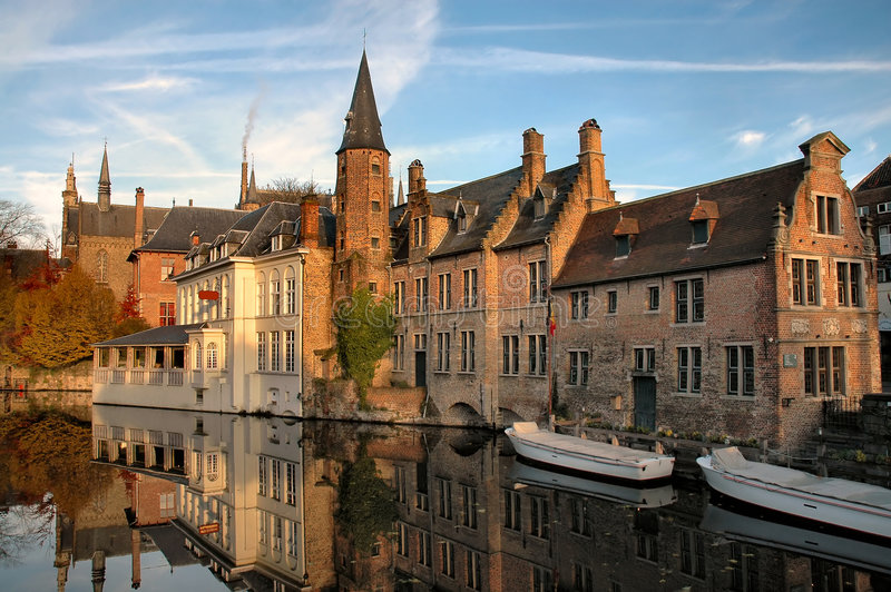 Buildings On Canal In Brugges, Belgium stock photos