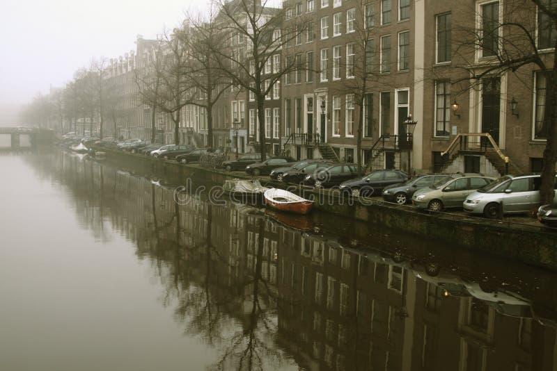 Misty Amsterdam morning stock photos