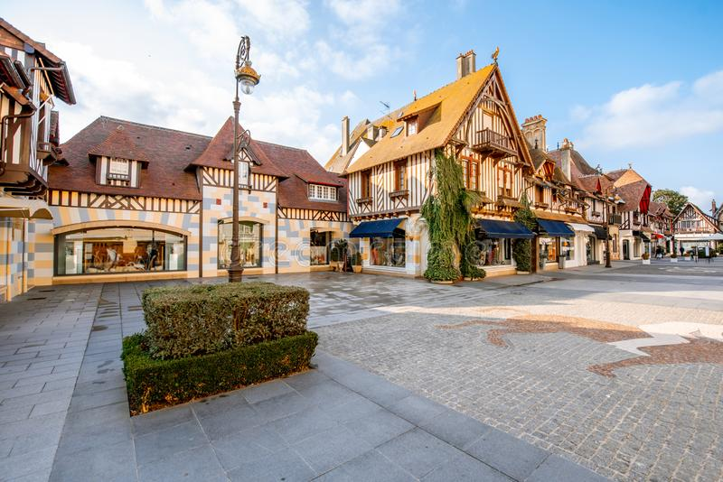 Buildings in the center of Deauville town, France. Street view with beautiful old houses in the center of Deauville town, Famous french resort in Normandy stock photography