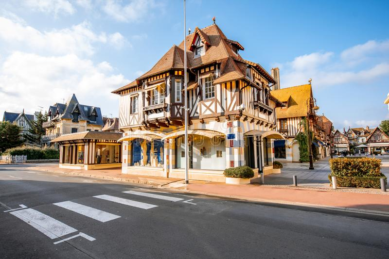 Buildings in the center of Deauville town, France. Street view with beautiful old houses in the center of Deauville town, Famous french resort in Normandy stock photos