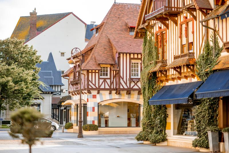 Buildings in the center of Deauville town, France. Street view with beautiful old houses in the center of Deauville town, Famous french resort in Normandy royalty free stock image