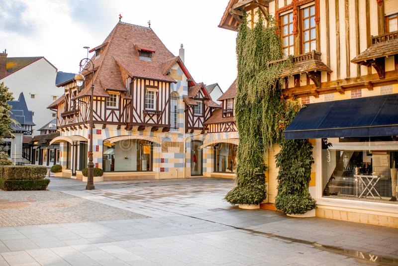 Buildings in the center of Deauville town, France. Street view with beautiful old houses in the center of Deauville town, Famous french resort in Normandy royalty free stock photography