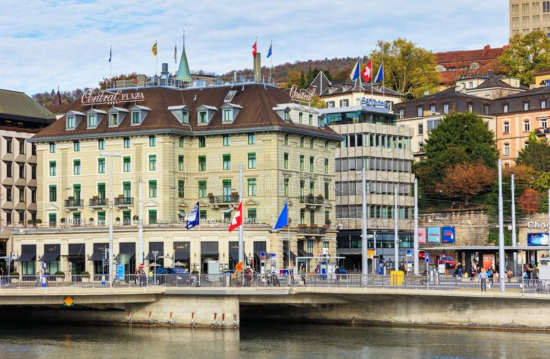 Buildings on Central Square in Zurich, Switzerland. Zurich, Switzerland - 25 October, 2017: people and buildings on Central Square. Central Square is a town royalty free stock photo