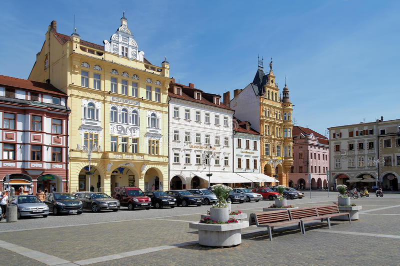 Buildings in Ceske Budejovice, Czech Republic. Buildings in baroque style around the central square of Ceske Budejovice, Czech Republic royalty free stock photos
