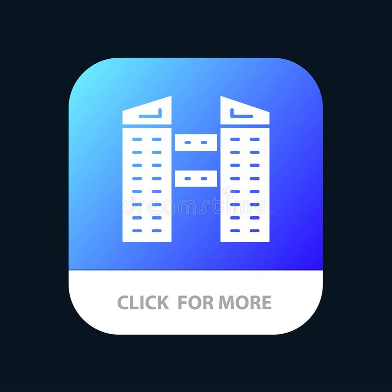 Buildings, City, Construction Mobile App Button. Android and IOS Glyph Version royalty free illustration