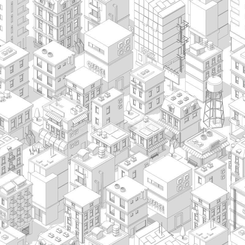 Free Buildings City Seamless Pattern. Isometric Top View. Vector Town City Street Outline With Shadows. Gray Lines Contour Style Royalty Free Stock Photography - 146697487